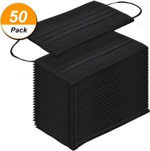 50 Pcs Disposable Face Mask, 3-ply, Thick Layers, Breathable, Dustproof - Black Special Edition