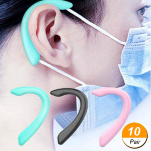 (10 pair) Ear Strap Hooks Grip for Face Masks For Adult and Kids - Black / Pink / Green