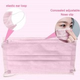 50 Pcs Disposable Face Mask, 3-ply, Thick Layers, Breathable, Dustproof - Pink Special Edition