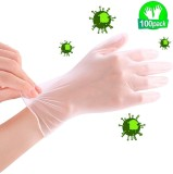 100 Pcs Nitrile Disposable Gloves Powder-Free Latex-Free Exam Gloves Non Sterile Ambidextrous Comfortable Industrial Transparent Rubber Gloves