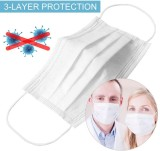 100 Pcs Disposable Face Mask, 3-ply, Thick Layers, Breathable, Dustproof - White Special Edition