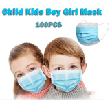 100 Pcs Disposable Face Mask For Kids Children, 3-ply, Thick Layers, Breathable, Dustproof - Blue