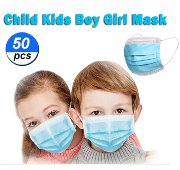 50 Pcs Disposable Face Mask For Kids Children, 3-ply, Thick Layers, Breathable, Dustproof - Blue