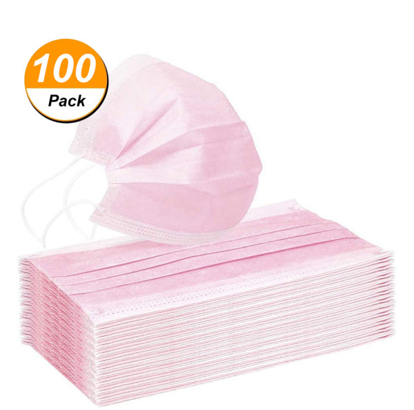 100 Pcs Disposable Face Mask, 3-ply, Thick Layers, Breathable, Dustproof - Pink Special Edition
