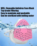 N95+ Face Mask, Reusable, 4-layer Filtering Protection Respiratory Mask - Pink