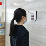 Wall-Mounted Infrared Forehead Thermometer Non-Contact Digital Temperature Thermometer with Fever Alarm Accurate Instant Reading LCD Display Self-Service Test for Office Apartment Supermarket