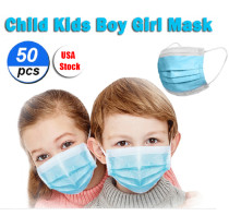 50 Pcs Disposable Face Mask For Kids Children, 3-ply, Thick Layers, Breathable, Dustproof - Blue - USA Stock