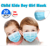 20 Pcs Disposable Face Mask For Kids Children, 3-ply, Thick Layers, Breathable, Dustproof - Blue - USA Stock
