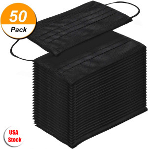 50 Pcs Disposable Face Mask, 3-ply, Thick Layers, Breathable, Dustproof - Black Special Edition  -USA Stock