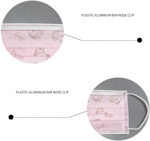 20Pcs / 50Pcs Disposable Mask 3 Layer Face Coverings with Cartoon Dog Animal Pattern Face Respir for Kids Girls and Boys - Pink