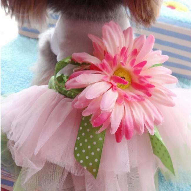 Dog Dress Sun-flower Pet Clothes