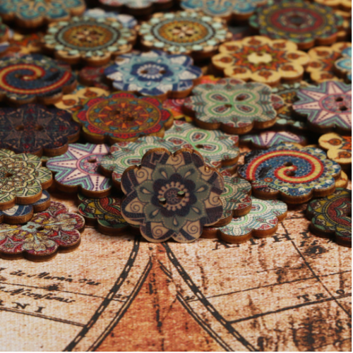 100 Pcs Wooden Decoration Sewing Buttons