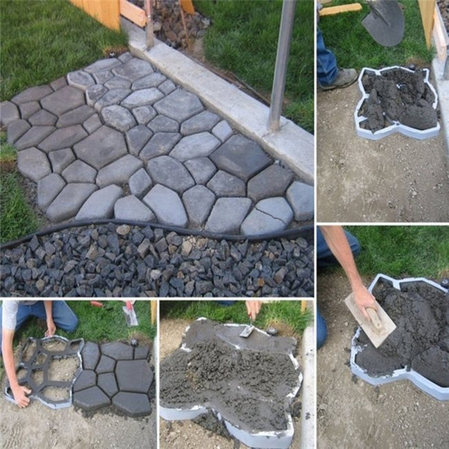 DIY Plastic Path Maker Mold Manually Paving Cement Brick Stone Road Auxiliary Tools