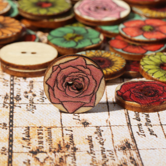 100 PCS Vintage Wooden Round Shape Buttons