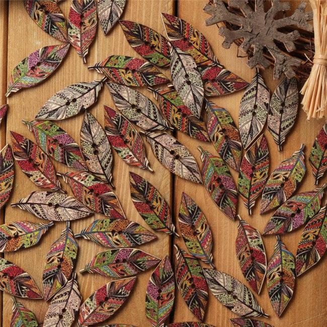 50 Pcs Leaves Wooden Sewing Buttons Handcraft Supplies