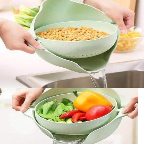 Multifunctional Fruits Washing Basket Double Layers Rotating Draining Colander