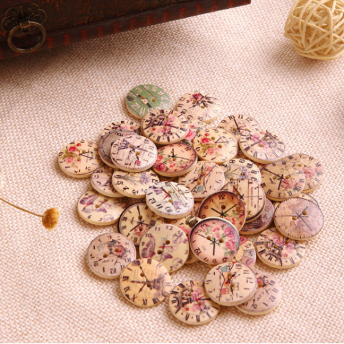 50 Pcs Vintage Clock Wooden Buttons