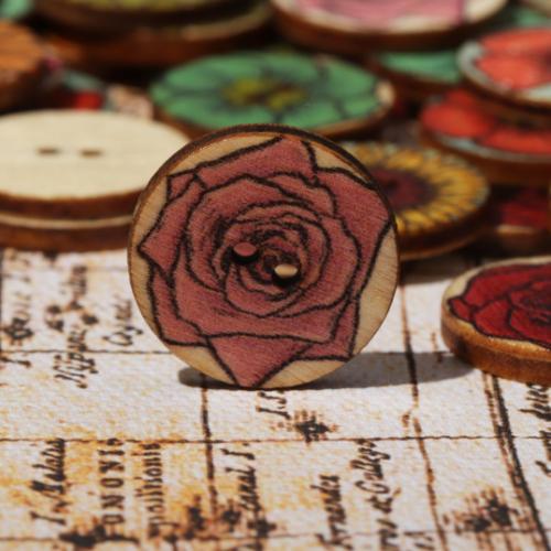 100 PCS Vintage Wooden Round Shape Buttons