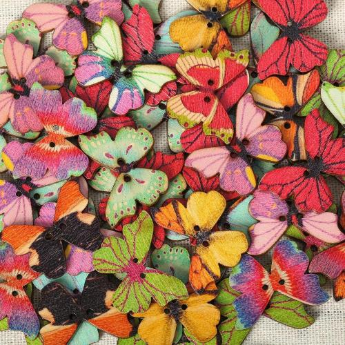 50Pcs Colorful Butterfly Wooden Sewing Buttons for DIY