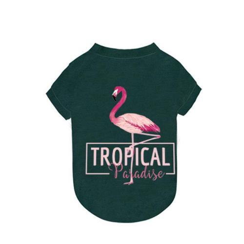 Pet Dog Cat Flamingo Green Summer T-shirt Puppy Summer Clothing