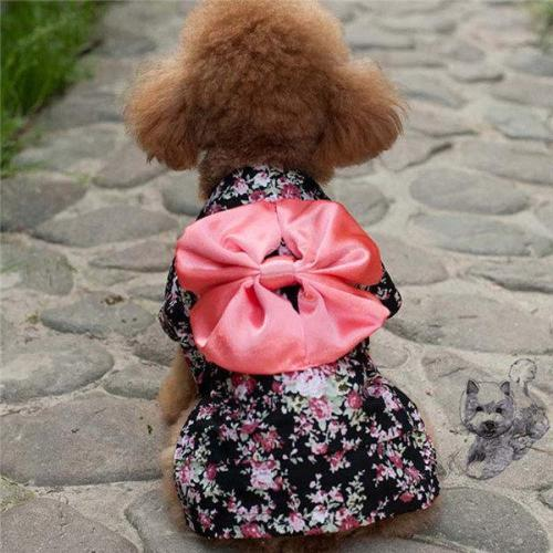 Japan Kimono Ethnic Pet Dog Clothes Chihuahua Puppy Floral Princess Dress Clothing