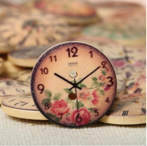 50 Pcs Vintage Clock Wooden Buttons