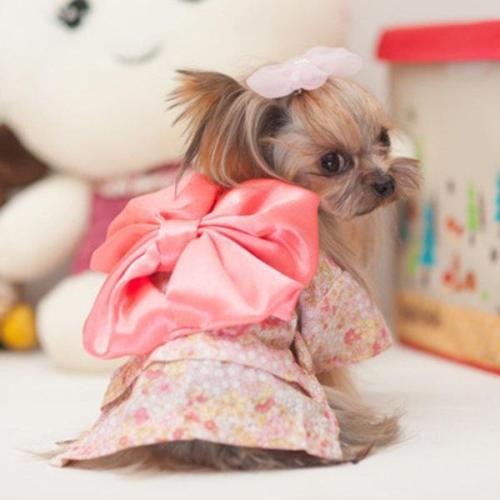 Japan Kimono Ethnic Pet Dog Clothes Chihuahua Puppy Floral Princess Dress Clothing