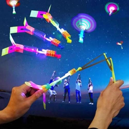 Amazing Rocket Slingshot LED Helicopters