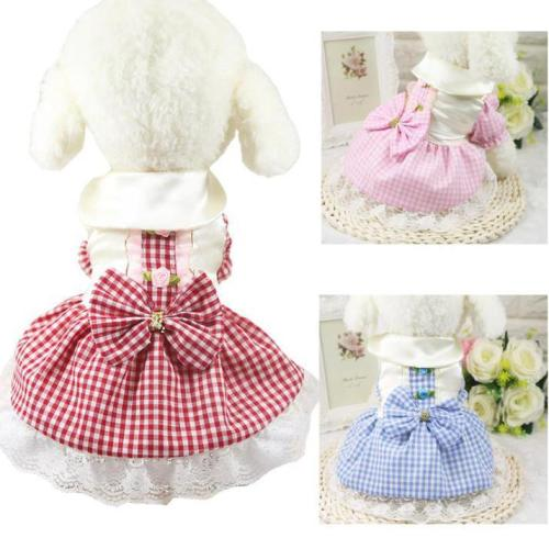 Plaid print Dog Dress Pet Clothes