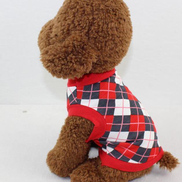 Pet T-Shirt Diamond-shaped Plaid Print Dog Clothes