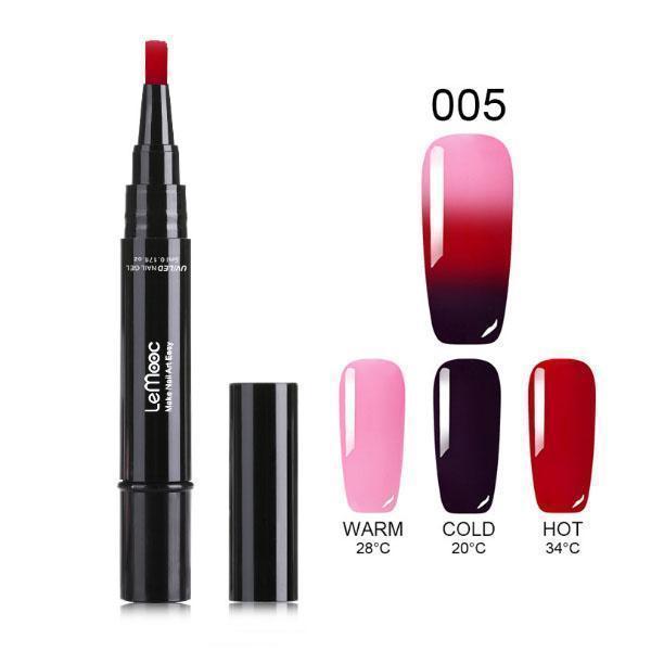 One Step Gel Nail Polish Pen, No Base Top Coat Need Soak Off UV LED Nail Varnish Nail Art Kit