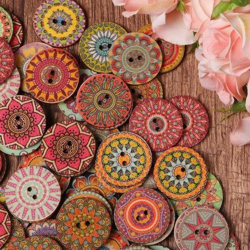 100Pcs Flower Bohemian Wooden Buttons