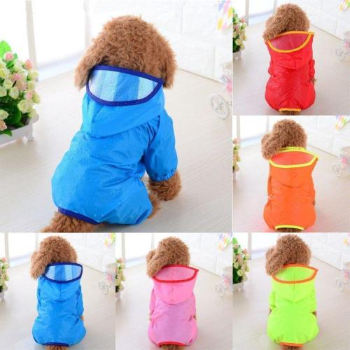 Pet Dog Rain Coat Puppy Waterproof Jacket Hooded Raincoat