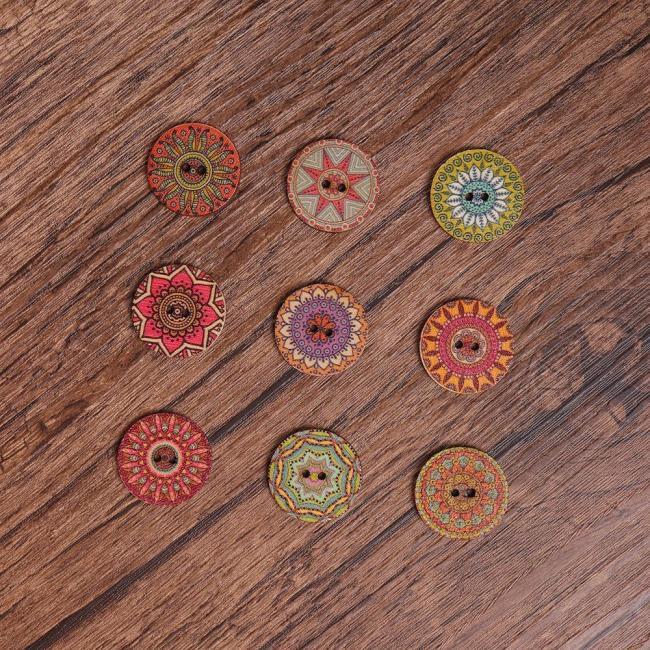 100Pcs Flower Bohemian Wooden Buttons