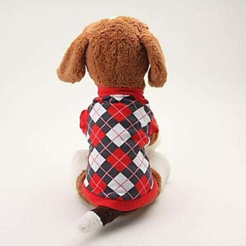 Pet T-Shirt Diamond-shaped Plaid Print Dog Clothes