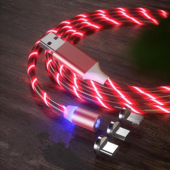 Luminous Magnetic Charging Cable With 3 Plug