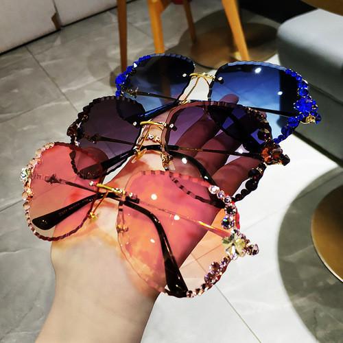 2020 Vintage Sparkling Crystal Sunglasses