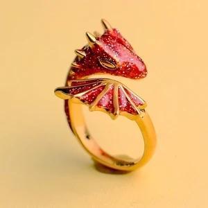 Gold Topaz Dragon Ring