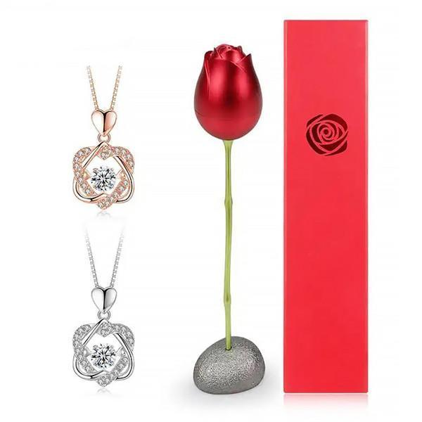 Sterling Silver Pendant (Without Chain) and Metal (Aluminum)  Rose Gift Box
