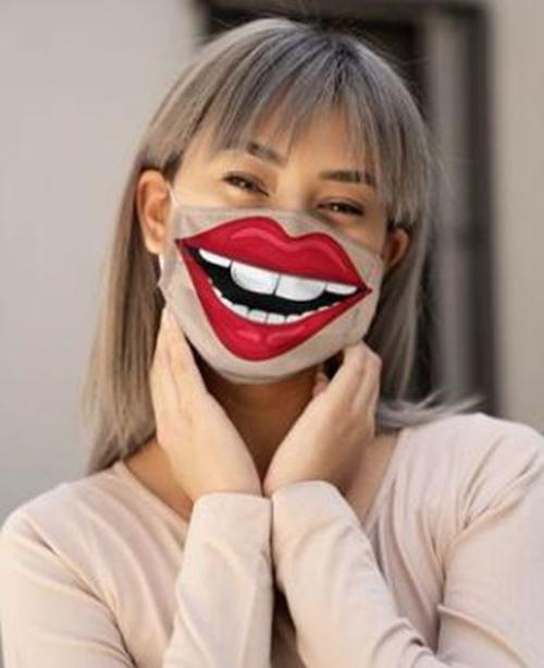Lip Print Colorblock Breathable Cotton Face Mask