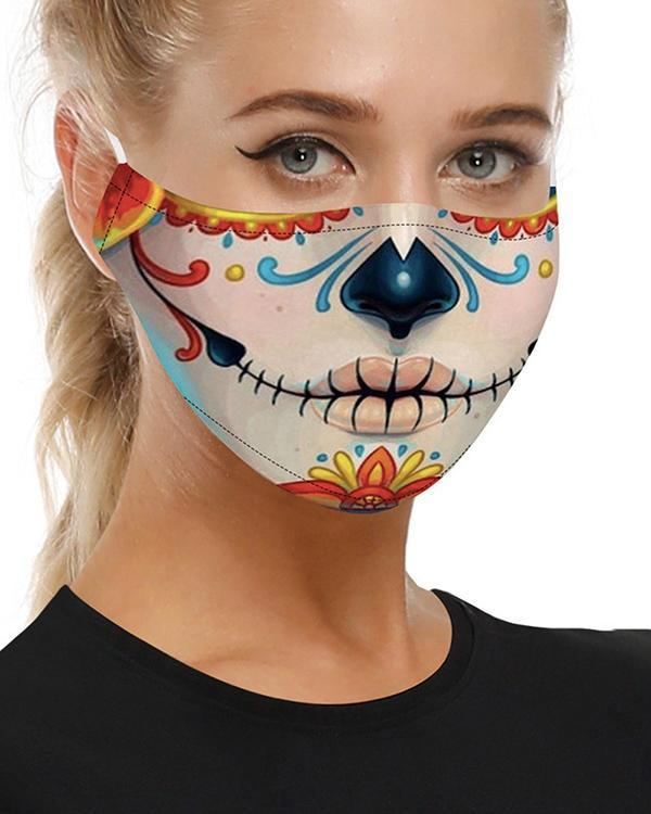 Skull Print Breathable Mouth Face Mask