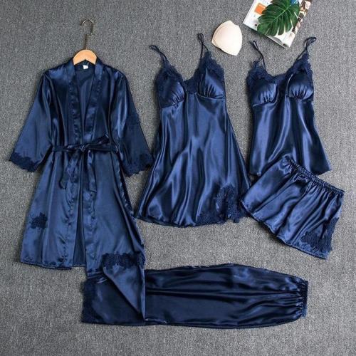 Blushy Silk 5 Piece Pajama Set