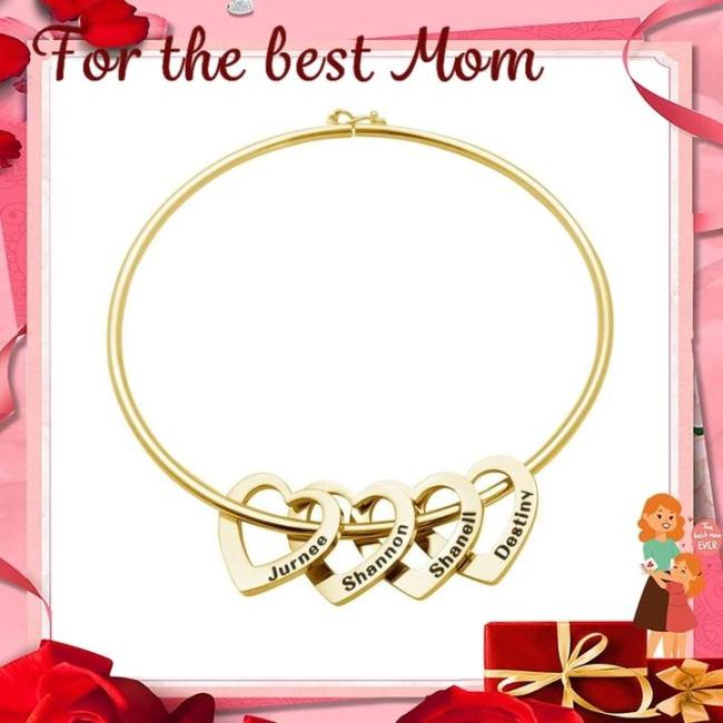 Mother's Day Gift Family Bangle Bracelet with Heart Shape Pendants(Personalized)