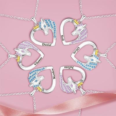 2021 Unicorn Necklace Color Peach Heart Necklace(Personalized)