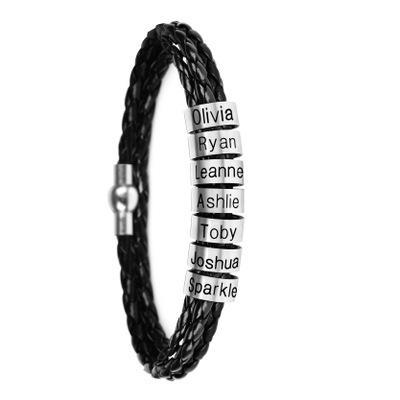 Stainless Steel Bracelet Custom Beaded Bracelet Titanium Steel Leather Bracelet(Personalized)