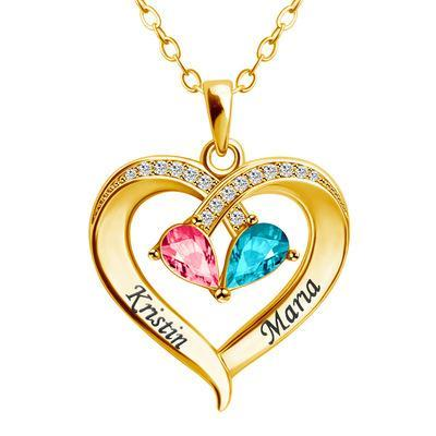 2021 Two-Color Water Drop Necklace With Heart(Personalized)