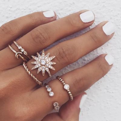 Jewelry-Diamond Star Moon Ring Set