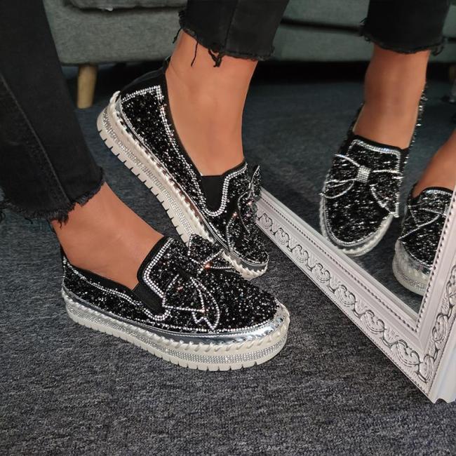 Women Shining Rhinestone Slip-on Loafers with Cute Bowknot