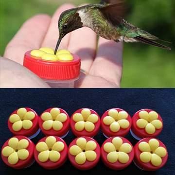 Handheld Hummingbird Feeder – Red cap with Yellow flower