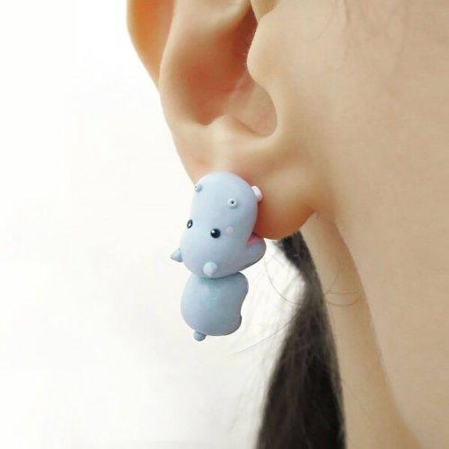 Cute animal bite earring